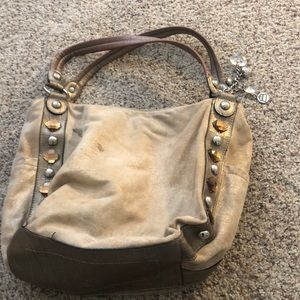 Large Suede cream and gold studded bag